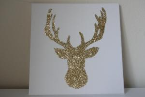 Gold Glitter Reindeer Deer Canvas Wall Art