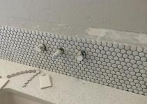 Gray Penny Tile Bathroom Floor Flooring Ideas