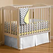 Gray Yellow Zig Zag Portable Crib Bedding Carousel