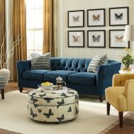 Great Navy Tufted Sofa Living Room Ideas