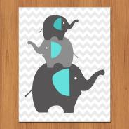 Grey Elephants Nursery Wall Art Teal Room Decor Gender