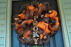 Halloween Wreath Spider Deco Mesh Redwithenvydesigns