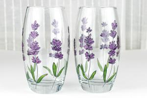 Hand Painted Glasses Lavender Set Floral