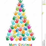 Hand Print Christmas Tree Vector Stock