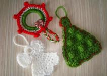 Handmade Camelia Pattern Three Ornaments Crocheted