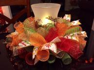 Handmade Fall Autumn Deco Mesh Centerpiece Candle Holder