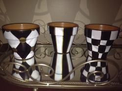 Handmade Hand Painted Black White Terra Cotta Pots