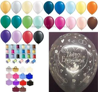 Happy Engagement Helium Balloons Ribbon Weights Table