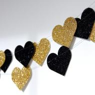 Heart Glitter Paper Garland Gold Noir Black