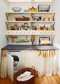 Hidden Laundry Stuff Below Small Storage Idea