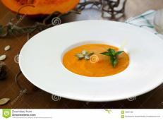 Homemade Creamy Pumpkin Soup Table Autumn
