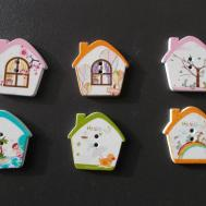 House Shaped Wooden Fridge Magnets