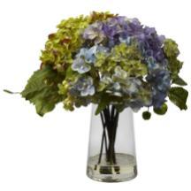 Hydrangea Silk Flower Arrangement Glass Vase