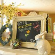 Ideas Happy Easter Lovely Decor Mantel