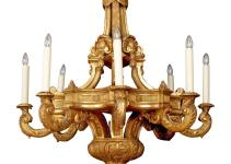 Imposing Eight Arm Carved Gesso Giltwood Chandelier