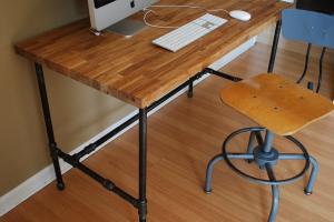 Industrial Desk Oak Top Steel Pipe Legs