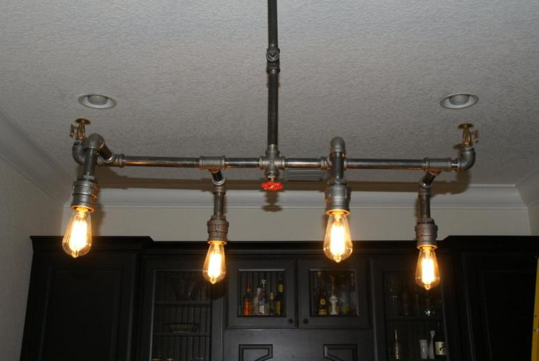 Industrial Pipe Fire Sprinkler Chandelier Light Custom