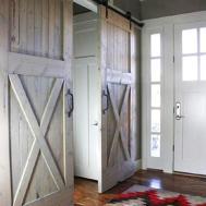 Interior Sliding Barn Door Chevron Rug Pattern