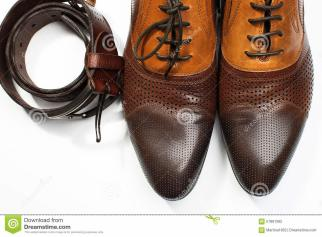 Isolated Leather Men Dress Shoes Belt Stock