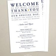 Itinerary Cards Wedding Hotel Welcome Bag Printed