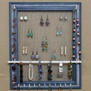 Jewelry Organizer Display Blue Frame