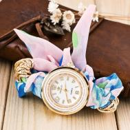 Korea Print Ribbon Bracelet Watch Elegant Lady