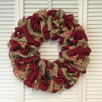 Large Red Christmas Wreath Burlap