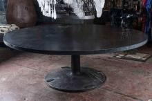 Large Round Industrial Steel Dining Table 1stdibs