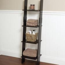 Leaning Linen Tower Wood Bathroom Organizer Towel Storage