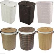 Lidded Rattan Laundry Bin Storage Basket Bamboo Hamper Bag