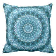 Light Blue Kaleidoscope Mandala Throw Pillow Zazzle