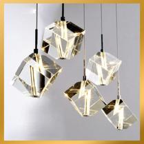 Lights Cubic Crystal Chandelier Light Pendant Lamp