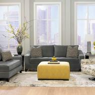 Living Room Dark Grey Sofas Wall Paint