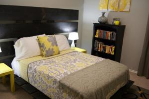 Living Small Yellow Gray Bedroom
