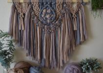 Macrame Pattern Yarn Wall Hanging Boho Tapestry