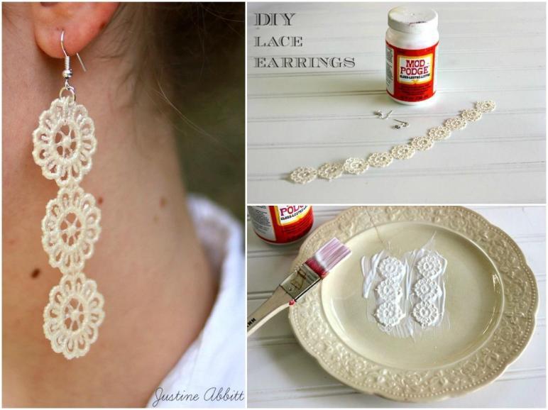 Make Diy Lace Earrings Mod Podge Rocks