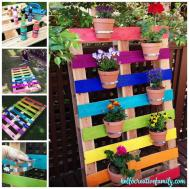 Make Diy Upcycled Rainbow Pallet Flower Garden