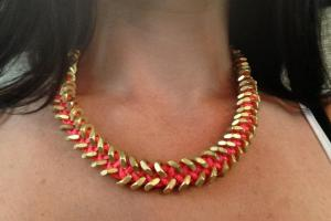 Make Neon Pink Gold Hex Nut Necklace All