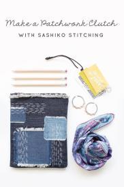Make Patchwork Clutch Sashiko Stitching Lindsey