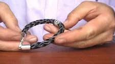Make Sterling Silver Men Leather Bracelet 119
