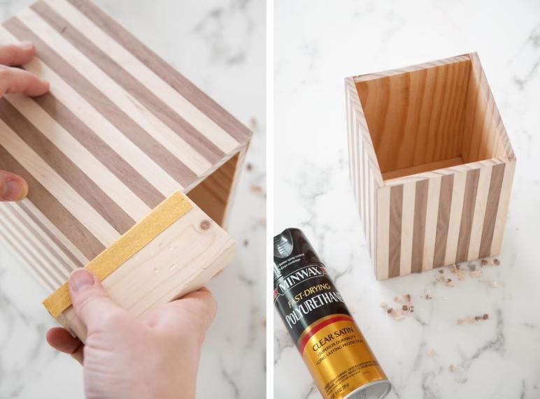 Make Wood Striped Utensil Holder Beautiful Mess