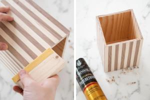 Make Wood Striped Utensil Holder Beautiful Mess
