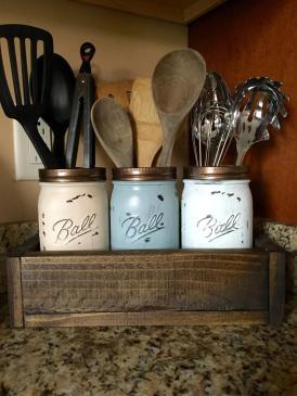 Mason Jar Utensil Holder Kitchen