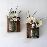 Mason Jar Vase Set Sconce Wall