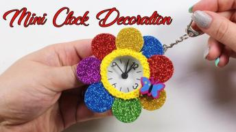 Mini Clock Rainbow Decor Diy Sparkly Decoration Girls
