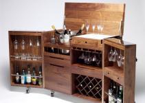 Mobile Bar Wine Cabinet Walnut Stainless Steel