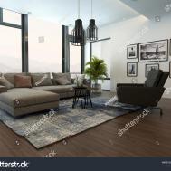 Modern Cozy Living Room Interior Gray Stock Illustration