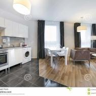 Modern Interior Design Living Room Kitchen Stock