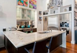 Modern Kitchen Marble Countertop Two Bar Chair Dweef