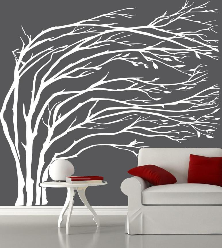 Modern White Blowing Tree Wall Decal Silhouette